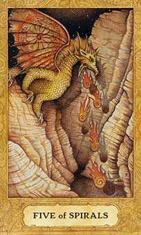 Five of Pipes Tarot Card - Chrysalis Tarot Deck