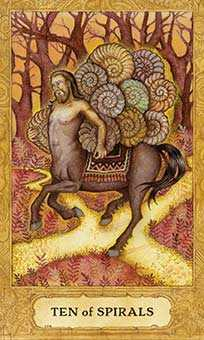 Ten of Staves Tarot Card - Chrysalis Tarot Deck