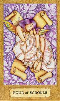 Four of Bats Tarot Card - Chrysalis Tarot Deck