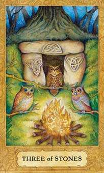 Three of Stones Tarot Card - Chrysalis Tarot Deck