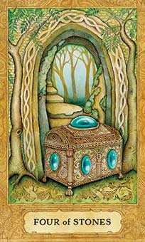 Four of Stones Tarot Card - Chrysalis Tarot Deck