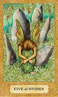 Five of Stones Tarot Card - Chrysalis Tarot Deck