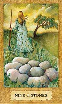 Nine of Stones Tarot Card - Chrysalis Tarot Deck