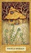 Four of Wands Tarot card in Chrysalis deck