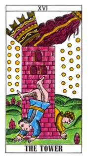 The Falling Tower Tarot Card - Classic Tarot Deck