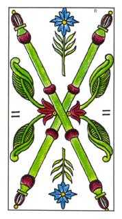 Two of Staves Tarot Card - Classic Tarot Deck