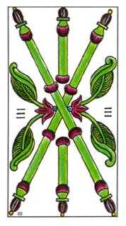 Three of Pipes Tarot Card - Classic Tarot Deck