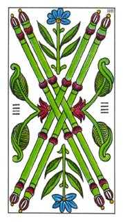 Four of Staves Tarot Card - Classic Tarot Deck