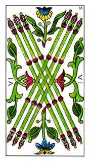 Six of Pipes Tarot Card - Classic Tarot Deck