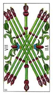 Seven of Staves Tarot Card - Classic Tarot Deck