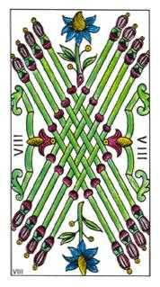 Eight of Rods Tarot Card - Classic Tarot Deck