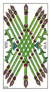Nine of Rods Tarot Card - Classic Tarot Deck