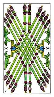 Ten of Staves Tarot Card - Classic Tarot Deck