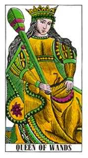 Queen of Rods Tarot Card - Classic Tarot Deck