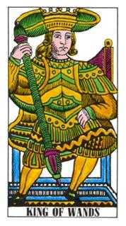 King of Staves Tarot Card - Classic Tarot Deck