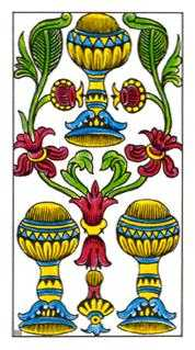 Three of Bowls Tarot Card - Classic Tarot Deck