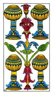 Four of Hearts Tarot Card - Classic Tarot Deck