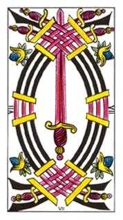 Seven of Arrows Tarot Card - Classic Tarot Deck