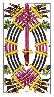 Nine of Arrows Tarot Card - Classic Tarot Deck