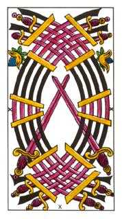 Ten of Arrows Tarot Card - Classic Tarot Deck