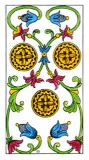 Three of Diamonds Tarot Card - Classic Tarot Deck