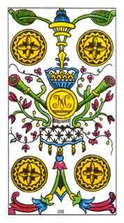 Four of Discs Tarot Card - Classic Tarot Deck