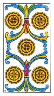 Five of Diamonds Tarot Card - Classic Tarot Deck