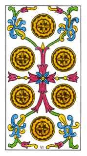 Six of Diamonds Tarot Card - Classic Tarot Deck