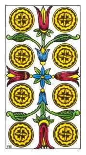 Eight of Diamonds Tarot Card - Classic Tarot Deck