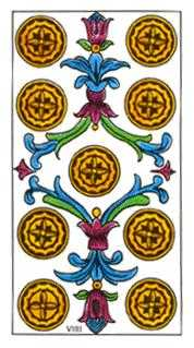 Nine of Coins Tarot Card - Classic Tarot Deck