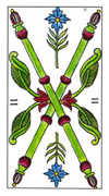 Two of Wands Tarot card in Classic deck