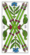 Four of Wands Tarot card in Classic deck