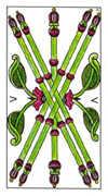 Five of Wands Tarot card in Classic Tarot deck