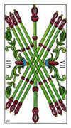 Seven of Wands Tarot card in Classic Tarot deck