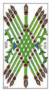 Nine of Wands Tarot card in Classic Tarot deck