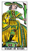 Knight of Wands Tarot card in Classic deck