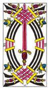 Seven of Swords Tarot card in Classic deck