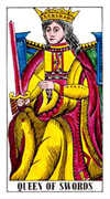 Queen of Swords Tarot card in Classic deck