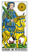 Knight of Pentacles Tarot card in Classic Tarot deck