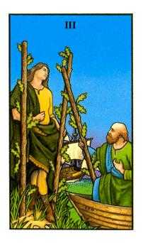 Three of Rods Tarot Card - Connolly Tarot Deck