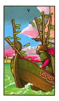 Five of Rods Tarot Card - Connolly Tarot Deck