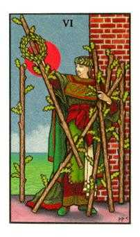 Six of Pipes Tarot Card - Connolly Tarot Deck