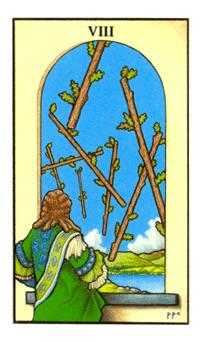 Eight of Rods Tarot Card - Connolly Tarot Deck