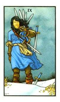 Nine of Arrows Tarot Card - Connolly Tarot Deck