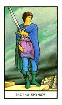 Page of Spades Tarot Card - Connolly Tarot Deck