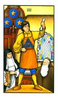 Three of Discs Tarot Card - Connolly Tarot Deck