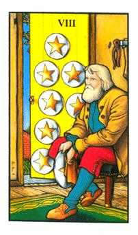 Eight of Discs Tarot Card - Connolly Tarot Deck