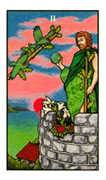 Two of Wands Tarot card in Connolly deck
