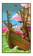 Five of Wands Tarot card in Connolly deck