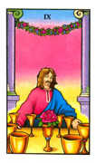 Nine of Cups Tarot card in Connolly deck
